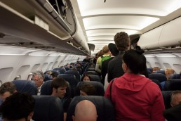 Crowded Airplane Cabin