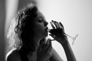 Woman, wine, alcohol abuse, addiction